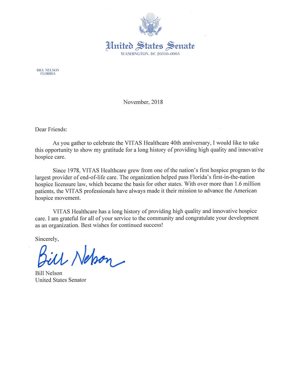 Letter to VITAS from US Senator Bill Nelson