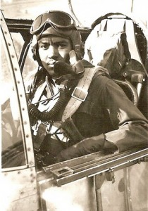 Gray in the cockpit of his plane