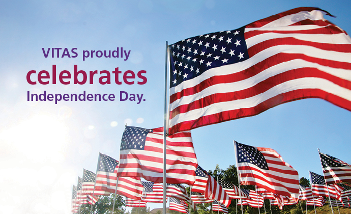 Images of the American flag, with the words VITAS proudly celebrates Independence Day.