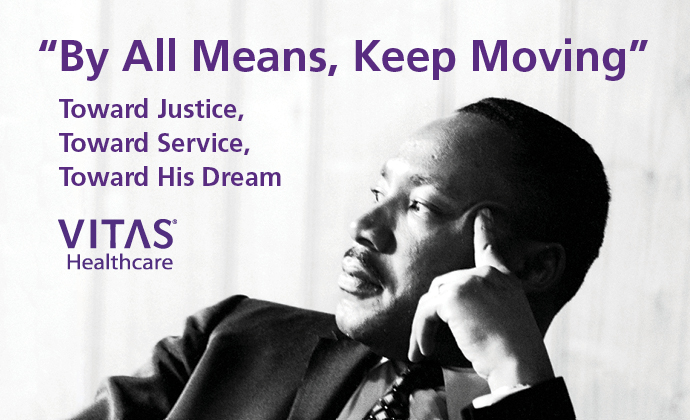 "A photo of Dr. King with his words ""Be All Means, Keep Moving"""
