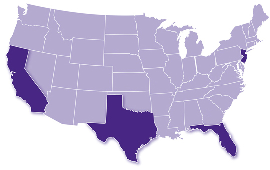 United States map with California, Texas, Florida, and New Jersey highlighted