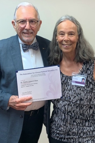 Dr. Diaz holds his Clinical Pastoral Education certificate, with CPE Director Martha Rutland