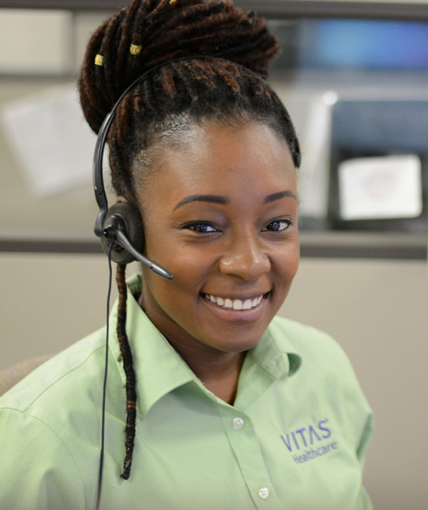 A VITAS team member ready to answer a call
