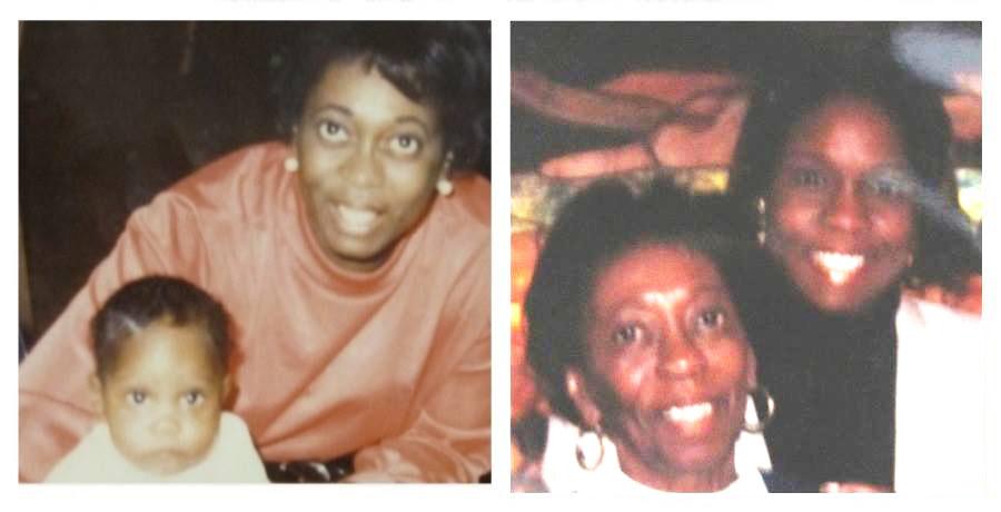 Pamela khi còn bé, với mẹ cô ấy, Susan (bên trái). Pamela khi đã trưởng thành, cùng với mẹ cô ấy (bên phải).