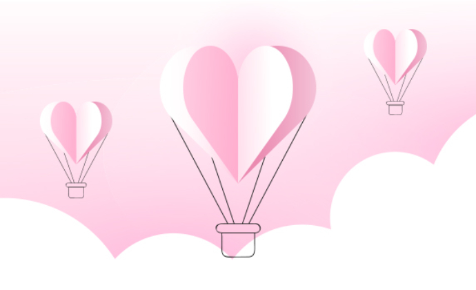 An illustration of heart shaped balloons