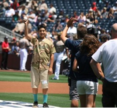 Adrian S. throws first pitch at Padres game
