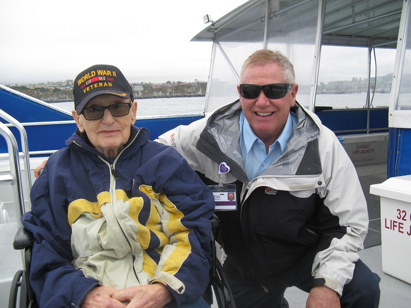WWII Vet Vincent and David on whale-watching boat