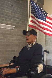 Hospice patient and WWII vet with American Flag