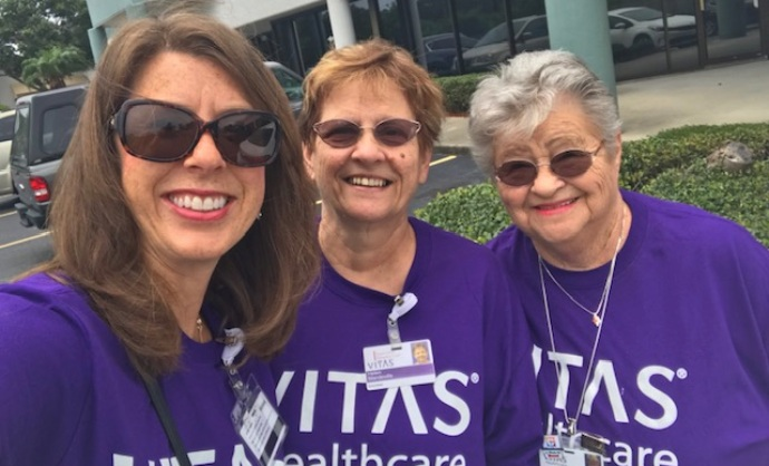 Leslie Miller with two fellow VITAS volunteers