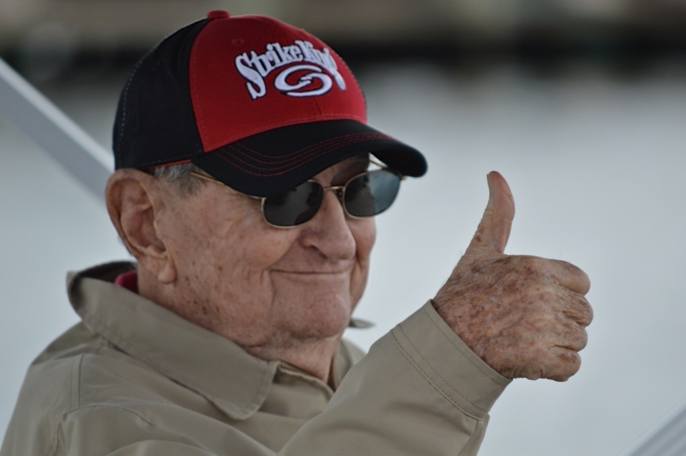 David Fletcher flashes a thumbs-up on his final fishing trip