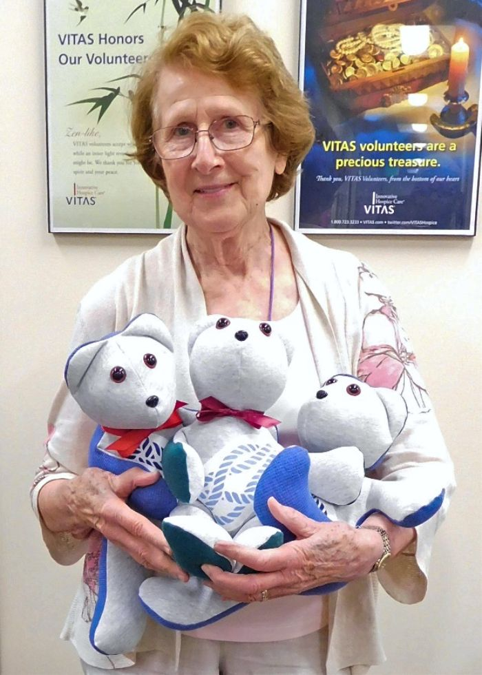 Ingrid holds three Memory Bears she recently crafted