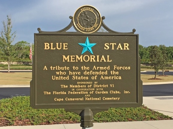 "A plaque describing the Blue Star Memorial, ""a tribute to the Armed Forces who have defended the United States of America"""