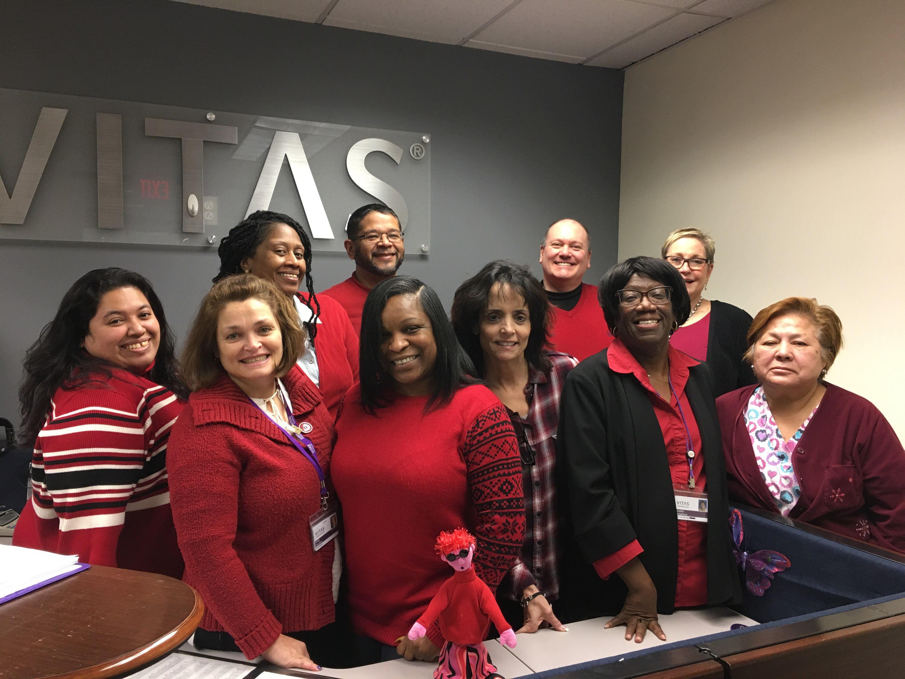 VITAS team members wear red in support of women's heart health