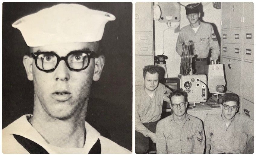 VITAS patient William Slack's military bootcamp photo from his yearbook, and another photo of him with three fellow seamen