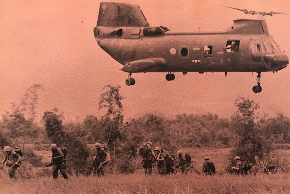 A military yearbook photo of a helicopter used by VITAS patient William Slack when he served in Vietnam