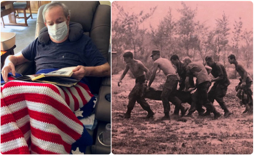 VITAS patient William Slack looks at a military photo album as he rests in a recliner at home; at right, a photo of him on a medevac team carrying a patient