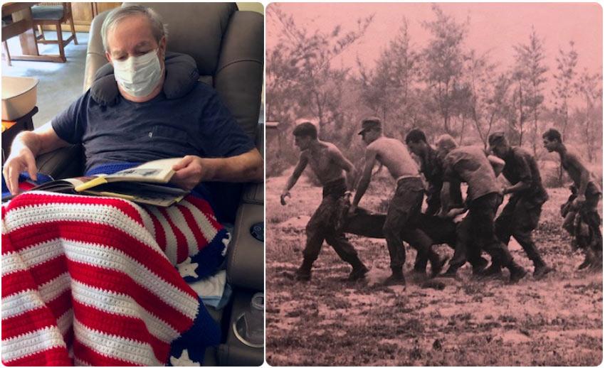 El paciente de VITAS,William Slack, mira un álbum de fotos del servicio militar mientras descansa en un sillón reclinable en su casa; a la derecha hay una foto de él junto con el equipo de evacuación llevando a un paciente