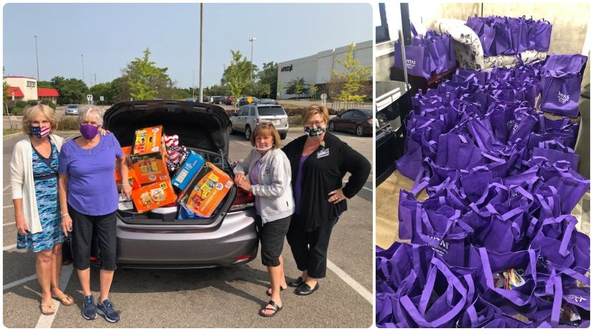A collage showing the group of women at a shopping center with a trunk full of goodies they bought; and, at right, dozens of the filled goodie bags