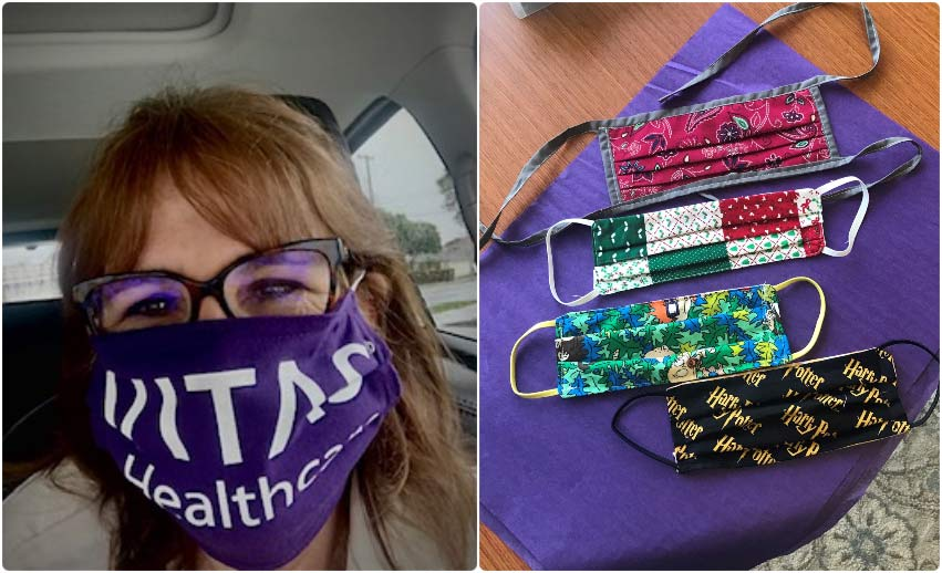 A volunteer services manager wears a mask sewn by a volunteer; and four other masks sewn by VITAS volunteers