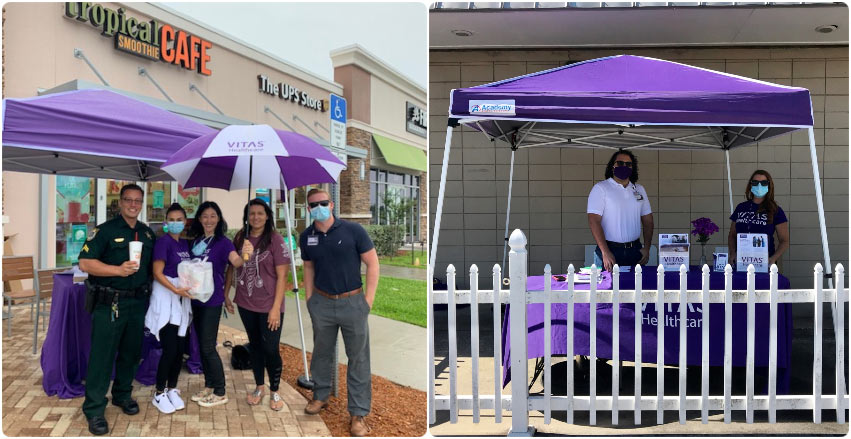 VITAS team members outside Tropical Smoothie Cafe, and standing in their drive-through setup with a tent and fence to enforce social distancing
