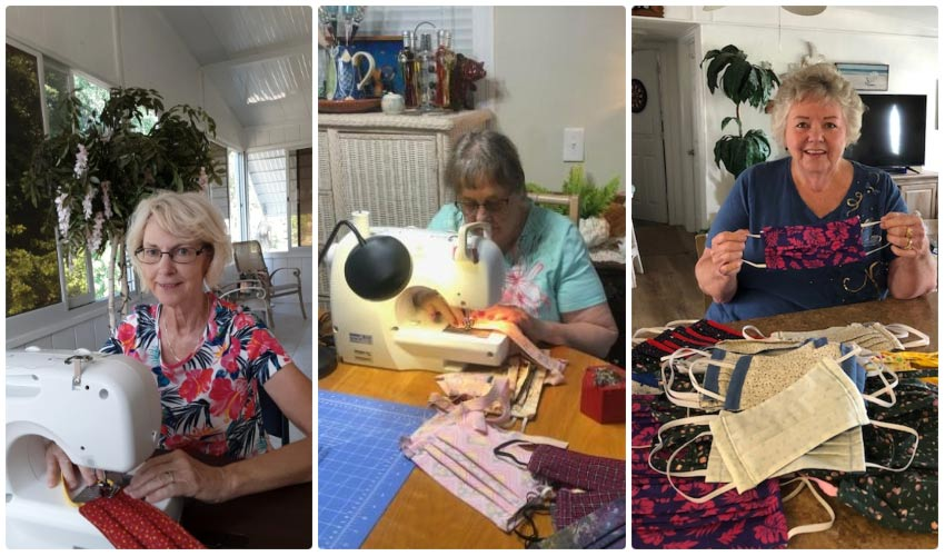A collage of the sewing volunteers creating masks