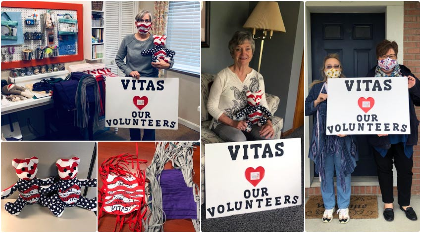 "A collage of the sewing volunteers holding signs that say ""VITAS hearts our volunteers"""
