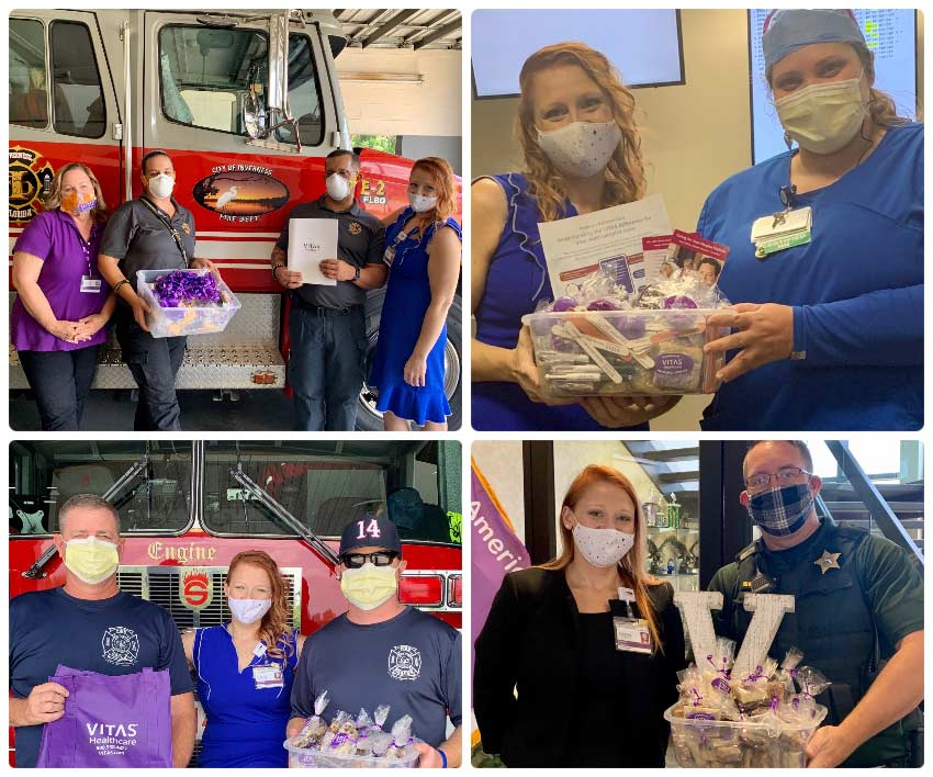 A collage of the Citrus team meeting with first responders in their community