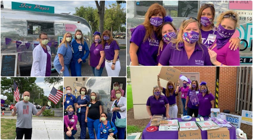 A collage of VITAS team members showing their thanks, with healthcare staff at the ice pop truck