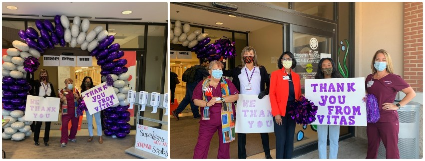The VITAS team welcomes healthcare workers at the entrance and a purple-and-white balloon arch