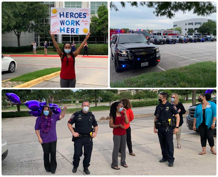 A collage of photos from the parade, including the public safety vehicles and VITAS staff with balloons and signs