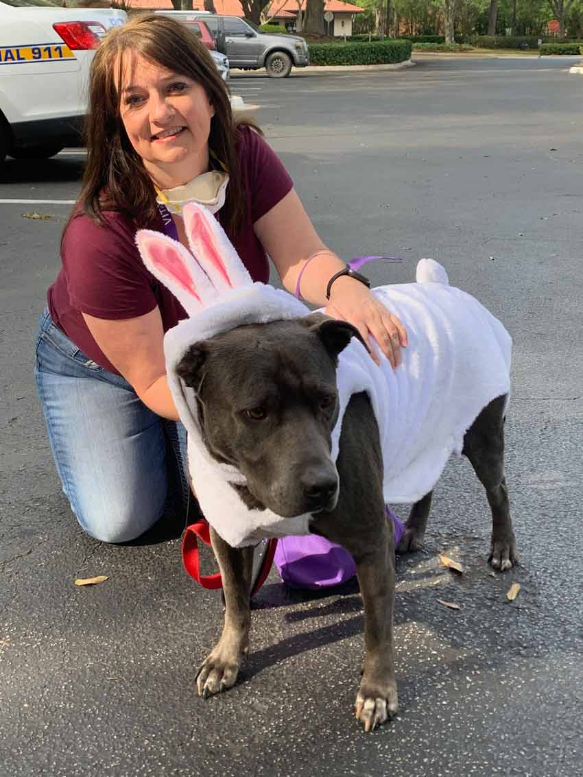 Heidi with Ash in the Easter Bunny costume