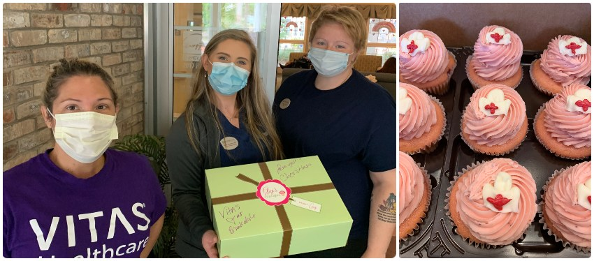 The VITAS team delivers a box of cupcakes