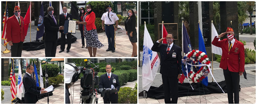 A collage of photos from the wreath ceremony, including Fred Robinson reading his part of the event and saluting