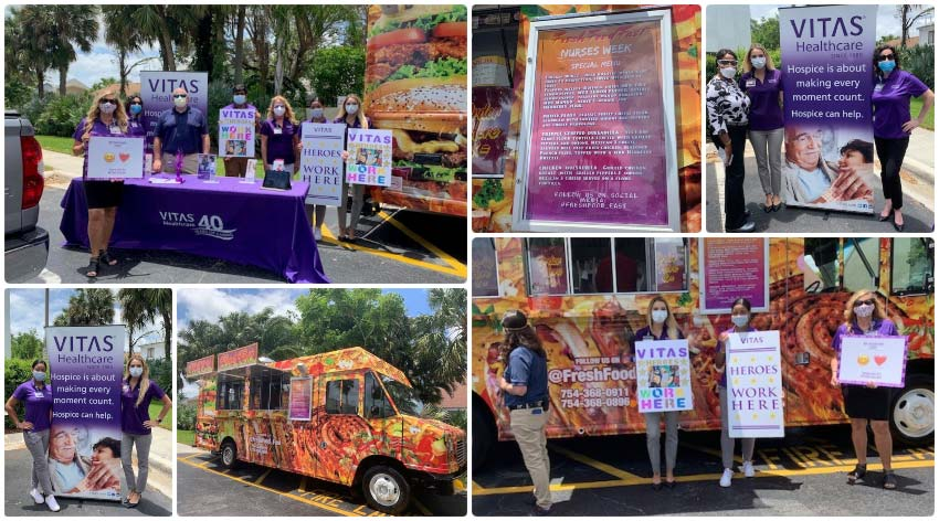 A collage of healthcare employees enjoying food outside and getting information about hospice care for their patients
