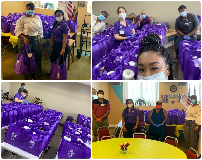 A collage of the VITAS team and Chen Medical preparing bags with paper towels and other supplies
