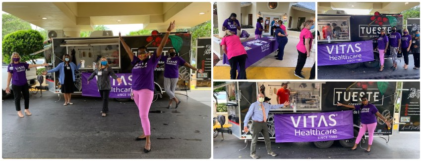 A collage of VITAS team members and the nursing center staff enjoying the coffee truck