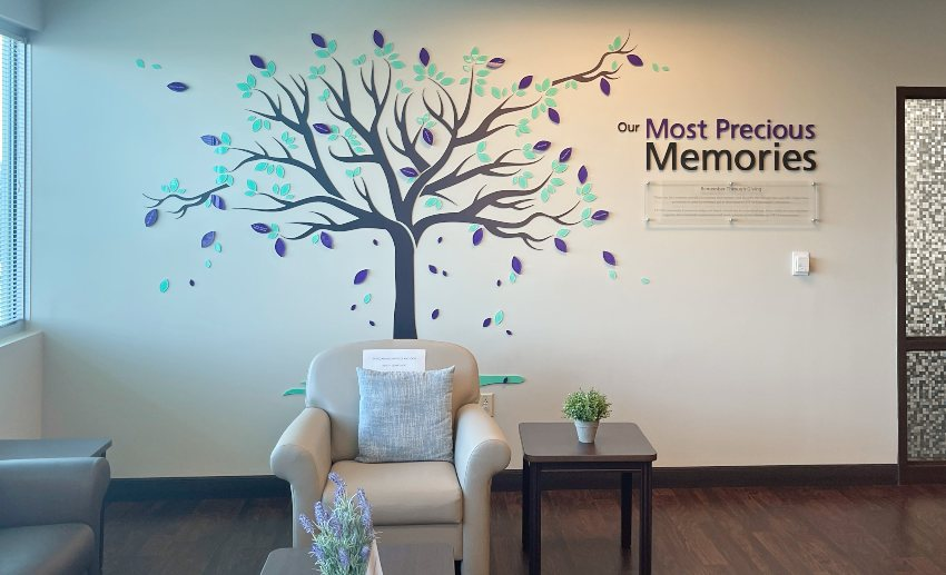 The Memory Tree on the wall of a sitting room in the VITAS Inpatient Unit