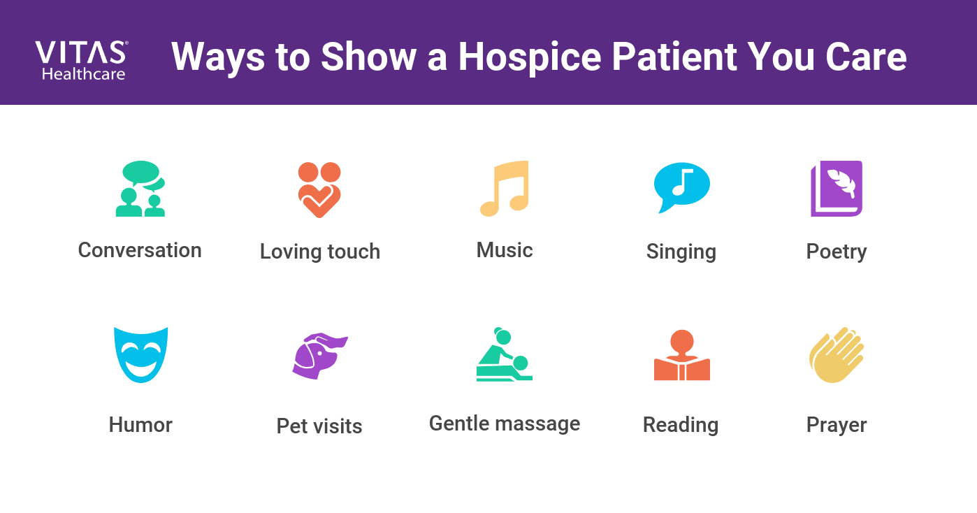 Other ways to a show a hospice patient you care include music, pet visits, singing, prayer, poetry, humor, gentle massage, loving touch and conversation.