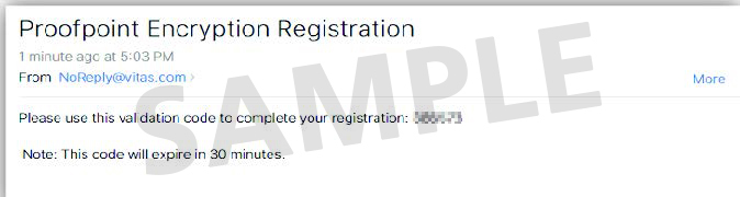 Isang screenshot na nagpapakita ng mensaheng may validation code