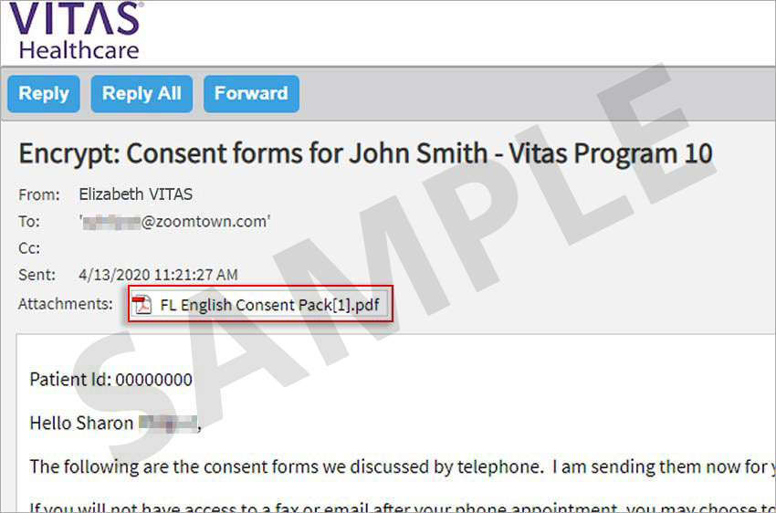 Screenshot ng naka-encrypt na mensahe na may attachment