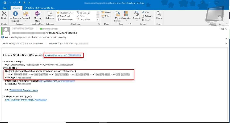 Isang larawan ng email na may link at mga numero ng telepono
