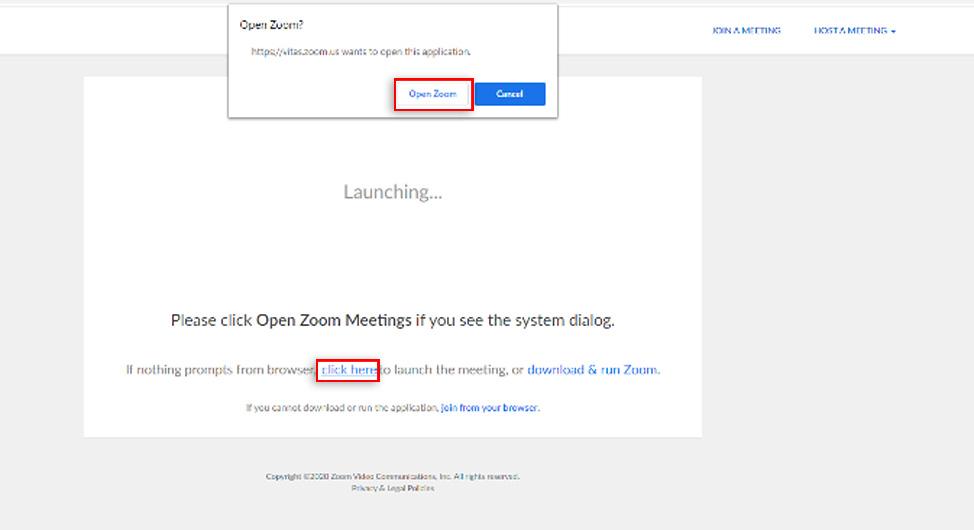 Larawang nagpapakita na i-click ang button na Open Zoom