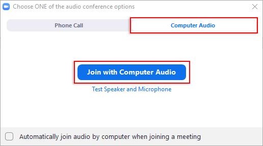 Isang larawang nagpapakita na i-click ang buton na Join With Computer Audio