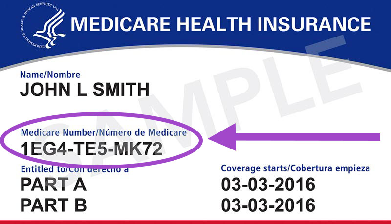 Halimbawa ng Medicare Insurance Card na may naka-highlight na Medicare Beneficiary Identifier