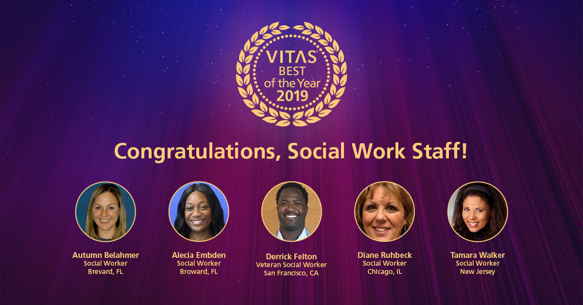 A collage of VITAS BEST social workers for 2019